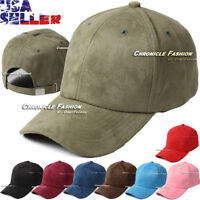 Mens Suede Hat Baseball Cap Plain Classic Adjustable Strapback Solid Curved Hats