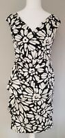 Womens Debenhams wiggle dress special occasion,races black and white 12 petite.