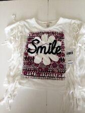 Girls Causal Everyday Shirts White Fringe Smile Shirt  And Pink Necklace Shirt