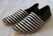 SEED HERITAGE ~ Black White Striped Canvas Espadrilles EU 39 AU 8