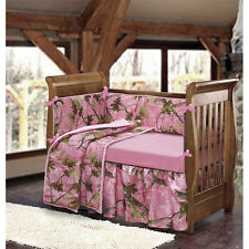 NURSERY Pink Camo BABY CRIB BEDDING SET 4pc Girls Outdoor Tree Woods Blanket