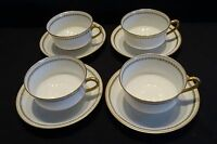 Haviland Limoges France 4 Cups & Saucers - Green Heart Ring w/ Gold Trim