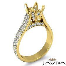 18k Yellow Gold 1.45Ct 3 Row Pave Set Round Diamond Engagement Semi Mount Ring