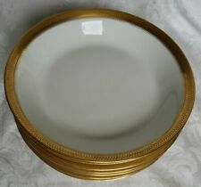 (7) GDA CH Field HAVILAND LIMOGES SOUP BOWLS HEAVY GOLD ENCRUSTED FRANCE