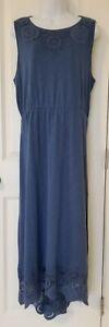CHICO'S Crochet Detail Hi-Low Maxi Dress Size 3 Blue Sleeveless Cruisewear Beach
