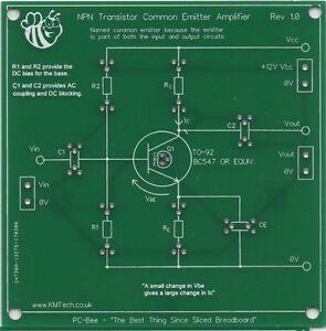 NPN Transistor Common Emitter Amplifier prototyping PCB student learning KMTech