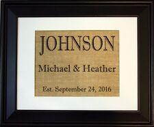 Personalized Burlap Print, Wedding Gift, Anniversary Gift, Engagement Gift