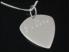 Silber Plektrum  mit Noten Design und Silberkette Rockys Musikerschmuck