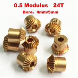 4/5mm Bore 24T 0.5 Modulus Metal Umbrella Tooth 90° Pairing Bevel Gear 24 Teeth