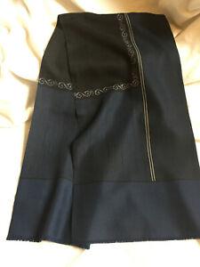 VINTAGE Men's Neck Scarf Pure Fine Wool Blue Striped