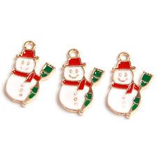 10pcs Wholesale Green&Red&White Enamel Gold Plated Snowman XMAS Alloy Pendants J