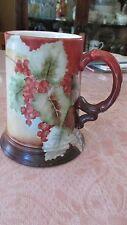 VTG J.P. L. France Vineyard Mug Stein Grapes & Leaves Hand Painted Rustic Colors