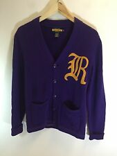Rugby Ralph Lauren Purple Yellow Varsity Cardigan Suede Patches Oversized XS