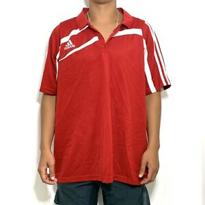 ADIDAS Men's Red White Short Sleeve Polyester Polo Shirt XL