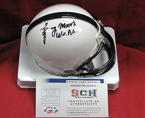 """Lenny Moore Signed Autograph Penn State Mini Helmet W/ """"We Are""""  SCH Authentic"""