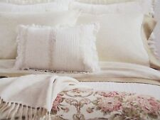 Ralph Lauren SABRINA Guinevere Victorian Feather Cream Embroidered Ruffle Pillow