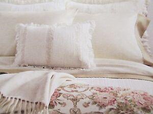 Ralph Lauren SABRINA Guinevere Victorian Feather Cream Embroidered Ruffle Pillow