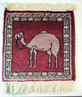 "Antique Persian ? Silk Prayer Rug ~ 12"" x 14"" ~ Hand-knotted ~ Camel Design  MG"
