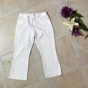 Cache casual white cropped flare ankle pants womens size 4 #54