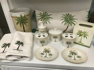 Croscill Palm Tree Port Of Call Vanity Bathroom Collection Set + addl items