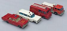Vintage Lesney Matchbox Emergency Vehicles with Regular Wheels  Lot of 4