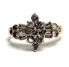 10k yellow gold 1.70ct SI1 light brown round diamond cluster ring 5.2g vintage