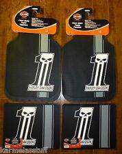 Harley-Davidson Dark Custom Front and Rear Car Truck Rubber Floor Mats NEW