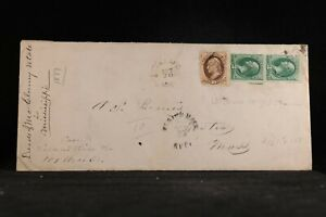 Mississippi: Oakland 1877 3c Pair + 10c Banknote Registered Legal Size Cover