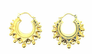 9ct  Yellow Gold Vintage  Victorian Style Spike Creole Earring         50320
