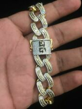 7.64 TCW Round Baguette Cut Diamonds Men's Cuban Link Bracelet In 585 14K Gold