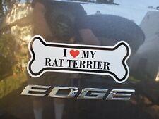 I Love My Rat Terrier Dog Bone with Heart Bumper Sticker Car Decal Vinyl Sticker