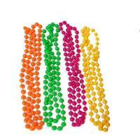 Set of 4 Fluorescent Neon Plastic Colour Bead Necklaces 80s Fancy Dress