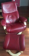 Himolla Relax Sessel + Hocker Zerostress 32H44 Leder rubin Gestell natur