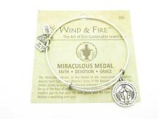 Wind & Fire Miraculous Medal Charm Wire Bangle Stackable Bracelet USA New Gift