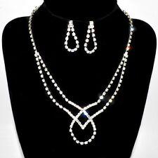 Rhinestone Set Wedding Bride Jewelry Set Collier Necklace Ear Stud Earring Noble