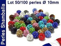 Lot 50/100 PERLES Disco Cristal Strass Ø 10mm pour création Bracelet Shamballa