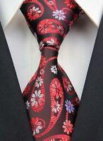 New GZ057 Black Red Paisley Classic JACQUARD Woven 100%Silk Mens Tie Necktie!