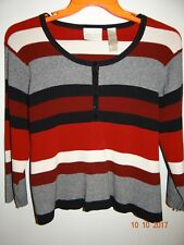FIRST ISSUE Size XL Red, Gray, White & Black Striped Sweater Long Sleeve Cropped
