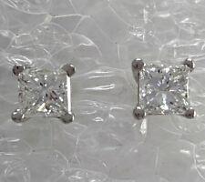 Solid .950 Platinum 1/2 CTW Diamond Princess Cut Earring Studs