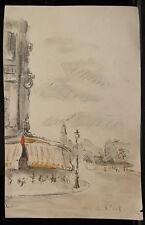 Peinture Original Aquarelle PAUL COUVREUR - Café de Paris - Vers 1930 - PC196