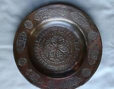 """Antique Persian islamic Script cuivre Chargeur/plaque/plat environ. 10"""" Diamètre"""