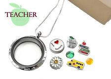 TEACHER Memory Locket Pendant Set SCHOOLBUS Floating Charms Sterling Pl Necklace
