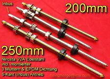 2 x Stockschrauben V2A Edelstahl M10x200mm kompl. incl. 3 Muttern &EPDM  m10x200