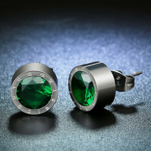 Silver Round Green Crystal Anti Allergic Stainless Steel Earring To Men Women