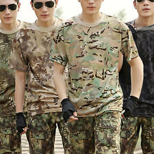Mens Camouflage Military Shirt Tank Combat Army Camo Casual Hunting T-Shirt Top