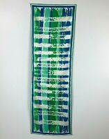 1970s Vera Neumann Scarf Bright Blue Green Polyester 43 X 14 Made in Japan