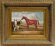 "Artist Unknown (20th Century) Original Oil Painting Gallery Frame, ""Horse & Dog"""