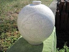 Wonderful Ivory Glazed Hand Carved Ball Vase Art Pottery