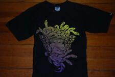 Men's Crooks and Castles Yellow/Purple Ombre Snake Face Graphic T-shirt (Small)