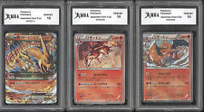 (3) Pokemon Card Lot  1st  Edition Charizard Japanese Graded GEM MINT 10 RARE GO